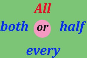 all-half, کاربردهای all,آموزش زبان انگلیسی, نکات کاربردی زبان انگلیسی, ترجمه متن انگلیسی به فارسی, یادگیری زبان انگلیسی, آموزش مکالمه انگلیسی, every,half,both