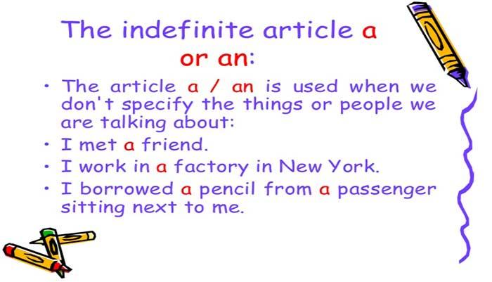 حرف تعریف نامعین در زبان انگلیسی